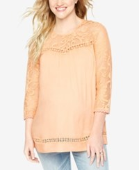 Wendy Bellissimo Maternity Lace Blouse Tan