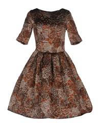 Io Couture Knee Length Dresses Brown