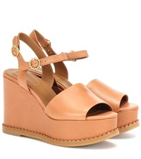 See By Chloe Leather Wedge Sandals Brown