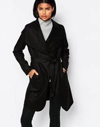 Brave Soul Belted Coat With Oversized Collar Black