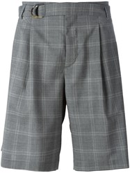 Maison Flaneur Checked Belted Shorts Grey