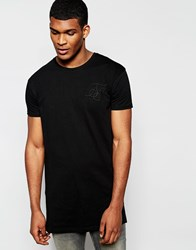 Sik Silk Siksilk Longline T Shirt With Curved Hem And Pleated Back Detail Black