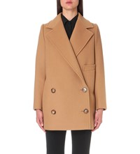 Stella Mccartney Double Breasted Wool Blend Coat Camel