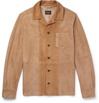 Tod's Panelled Suede Shirt Jacket Beige