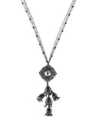 Lydell Nyc Long Filigree And Crystal Pendant Necklace Black