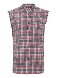 Topman Grey Charocal Check Sleeveless Shirt