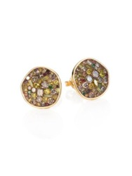 Plev Cinnamon Diamond And 18K Yellow Gold Pebble Button Earrings