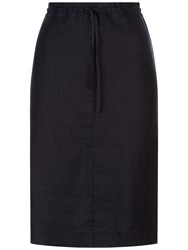 Jaeger Linen Paper Bag Pencil Skirt Navy