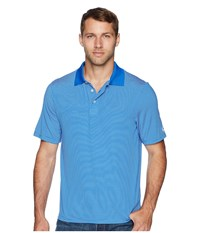 Cinch Athletic Tech Polo Striped Blue Short Sleeve Pullover
