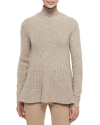 Derek Lam Alpaca Peplum Turtleneck Sweater