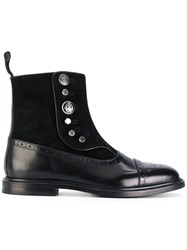Dolce And Gabbana Buttoned Brogue Detail Boots Calf Leather Leather Suede Rubber Black