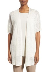 Eileen Fisher Women's Hemp Blend Elbow Sleeve Cardigan Bone