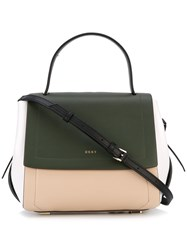 Dkny Foldover Tote Women Leather One Size Green
