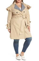 Lost Ink Plus Size Women's Gingham Trim Ruffle Trench Beige