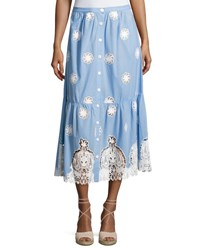 Miguelina Adrienne Versailles Midi Skirt With Lace Blue