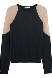 Vionnet Gathered Two Tone Knitted Sweater Blue