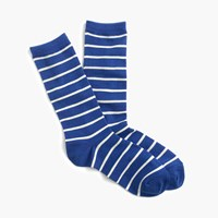 J.Crew Trouser Socks In Stripe Cobalt Sea