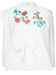 Delpozo Embroidered Flower Blouse White