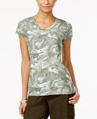 Styleandco. Style And Co. Marble Print T Shirt Only At Macy's Olive Combo