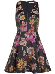 Alice Olivia Floral Brocade Flared Cocktail Dress Black