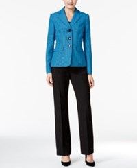 Le Suit Colorblocked Tweed Pantsuit Cerulean Multi