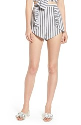 The Fifth Label Acacia Stripe High Waist Shorts Black W White