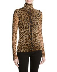 Fuzzi Leopard Animal Print Long Sleeve Turtleneck Top Camel
