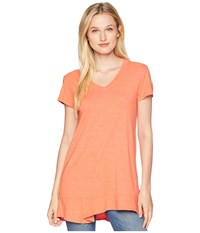 Mod O Doc Slub Jersey Easy Short Sleeve V Neck Tee With Peplum Hem Orangesicle T Shirt