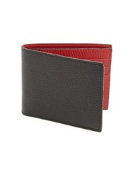 Saks Fifth Avenue Collection Leather Bi Fold Wallet Black Red