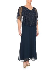 J Kara Plus Beaded Overlay Gown Navy Shadow