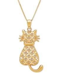 Macy's Textured Backwards Kitty Cat Pendant Necklace In 14K Gold Yellow Gold