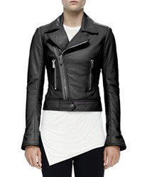 Balenciaga Cropped Leather Moto Jacket Black