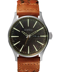 Nixon Dark Copper Leather Saddle Woven Sentry Watch