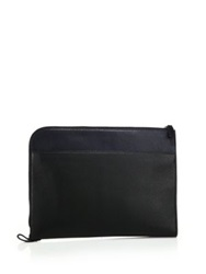 Saks Fifth Avenue Two Tone Leather Portfolio Black