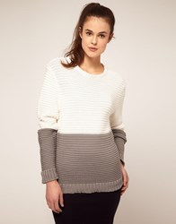 Jonathan Saunders Block Stripe Ripple Knit Sweater Whitegrey
