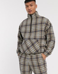 Mennace Half Zip Check Pullover Jacket Beige