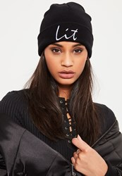 Missguided Black Lit Slogan Beanie