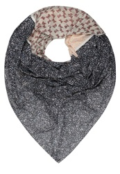 S.Oliver Scarf Grey Black Placed Print Blue