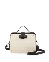 Betsey Johnson Framed Quilted Pvc Satchel Bag Cream Black