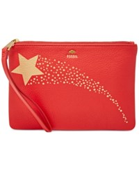 Fossil Gifting Printed Leather Wristlet Real Red