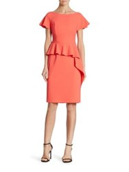 Rickie Freeman For Teri Jon Cap Sleeve Peplum Dress Coral