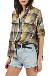 Women's Topshop 'Leigh' Plaid Double Pocket Shirt
