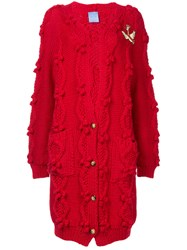 Macgraw Cable Knit Oversized Cardigan Red