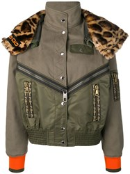 Dolce And Gabbana Leopard Print Panelled Bomber Jacket Green
