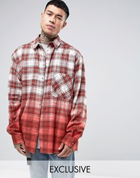 Reclaimed Vintage Oversized Checked Flannel Shirt In Dip Dye Red Green