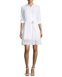 Nydj Josie Eyelet Trim Voile Shirtdress