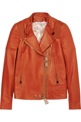 Givenchy Biker Jacket With Ribbed Panels In Brick Leather