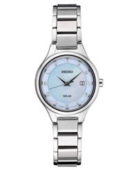 Seiko Women's Solar Diamond Accent Silver Tone Stainless Steel Bracelet Watch 29Mm No Color
