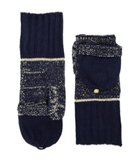 Michael Michael Kors Marl Metallic Striped Convertible Mittens Navy Gold Extreme Cold Weather Gloves Blue