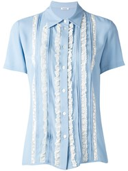 P.A.R.O.S.H. Lace Ruffle Blouse Women Silk Cotton Nylon Acetate M Blue